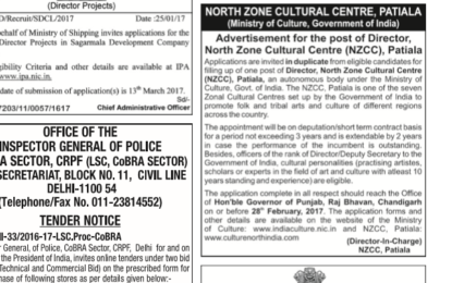 Filling up of one post of Director, North Zone Cultural Centre (NZCC), Patiala on deputation or short term contract basis