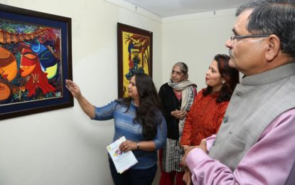 Day-1st of painting exhibition & workshop 'Vision-27' organised by NZCC at Kalagram