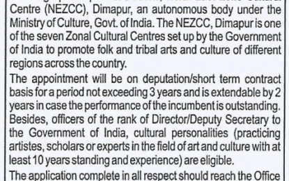 Appointment for the post of Director, NEZCC, Dimapur