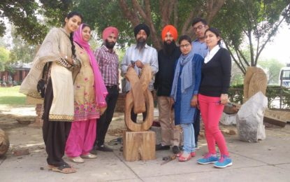 Art and crafts teacher and students From Amritsar visiting 'Sculpture Camp' (Wood) at Kalagram,Chandigarh organized by NZCC.