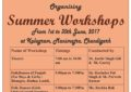 Summer Workshops to be organised by NZCC at Kalagram, Manimajra, Chandigarh From 1st to 30th June, 2017