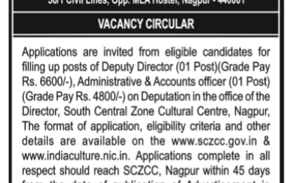 Vacancy for the post of Deputy director