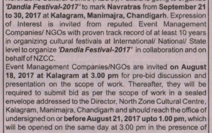 Expression of Interest – 'Dandia Festival-2017' at Kalagram, Chandigarh from September 21 to 30, 2017 – reg.