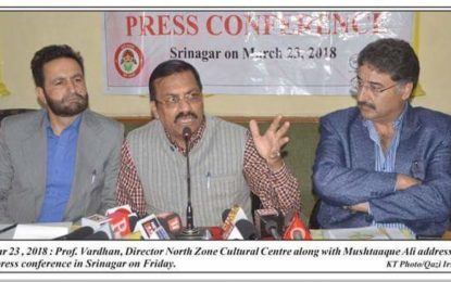 Press Coverage (24/03/2018) :- Press Conference held on 23/03/2018 regarding National Theatre Festival being organised by NZCC at Srinagar