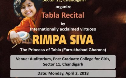 Tabla Recital by ' Rimpa Siva' at PGCG, Sector 11, Chandigarh to be organised by NZCC