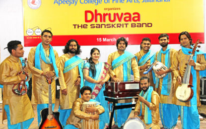 Prof Saubhagya Vardhan, Director NZCC during the presentation of Dhruvaa – the Sanskrit Band on 15th March, 2018 at APJ College Jallandhar.