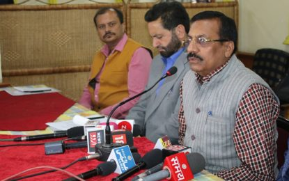 Prof Saubhagya Vardhan, Director, NZCC during press conference today i.e. on 23th March, 2018 at Srinagar in connection with National Theatre Festival being organised from March 24 to 26, 2018 by North Zone Cultural Centre, Patiala Ministry of Culture, Government of India at Tagore Hall, Srinagar.