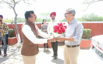 Visit of Sh. Raghvendra Singh, Secretary Culture, Govt. of India at North Zone Cultural Centre office, Kalagram, Chandigarh today on 14th April, 2018