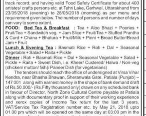 Short Term Tender Notice for Providing Food during 'Rashtriya Sanskriti Mahotsav' Tehri, Uttarakhand From May 25 to 27, 2018.