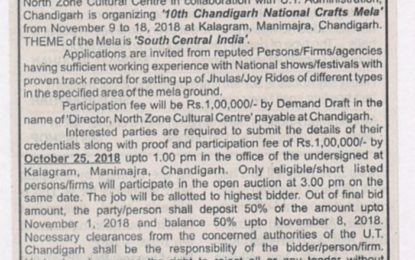 Auction Notice – Jhullas/Joy Rides – 10th Chandigarh National Crafts Mela at Kalagram, Chandigarh from November 9 to 18, 2018