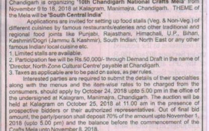 Expression of Interest- Food Court – 10th Chandigarh National Crafts Mela at Kalagram, Chandigarh from November 9 to 18, 2018